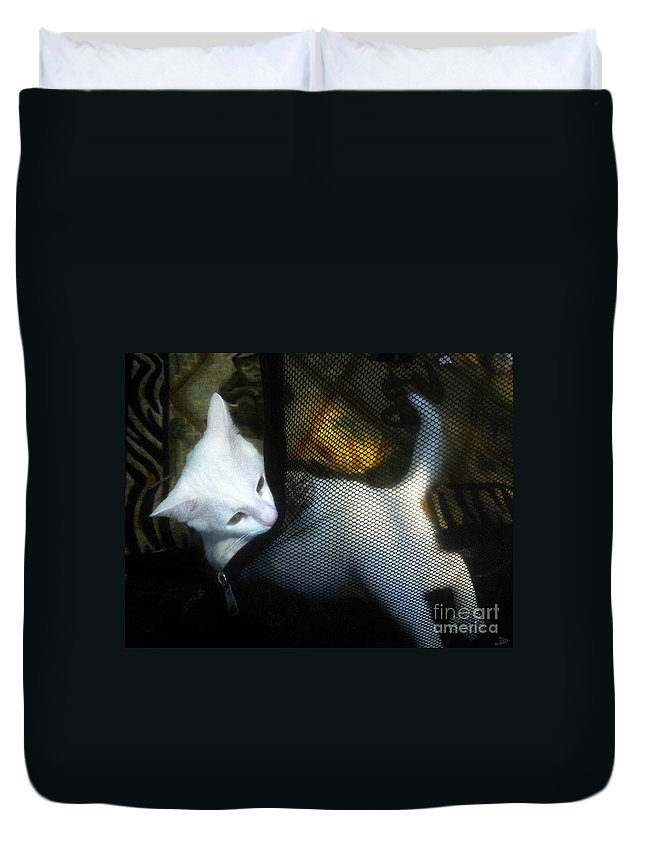 Kitten Duvet Cover featuring the painting White Kitten by David Lee Thompson