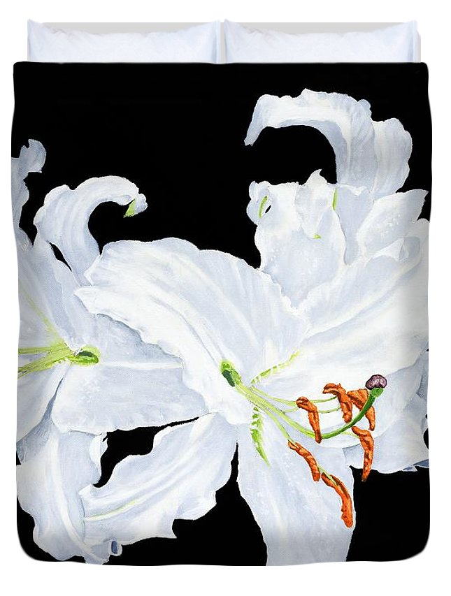 Lilies Duvet Cover featuring the painting White Lilies by Frank Hamilton