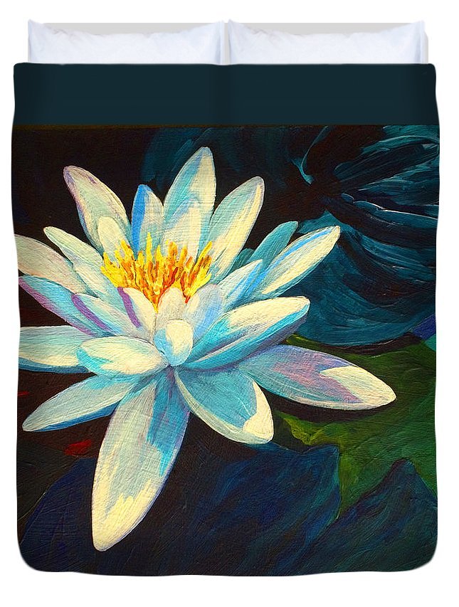 Water Lily Duvet Cover featuring the painting White Lily IIi by Marion Rose