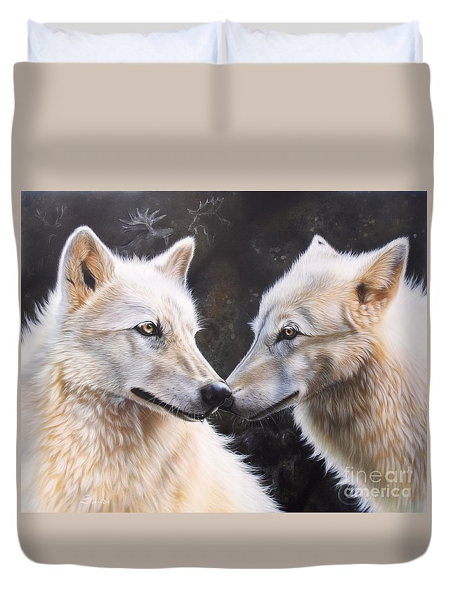 Acrylic Duvet Cover featuring the painting White Magic by Sandi Baker