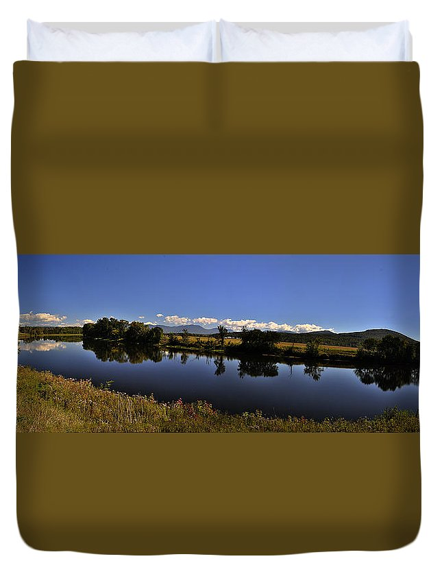 White Duvet Cover featuring the photograph White Mountain Panorama by Deborah Klubertanz