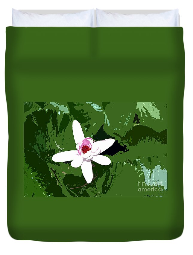 Flower Duvet Cover featuring the photograph White On Green Work Number 7 by David Lee Thompson
