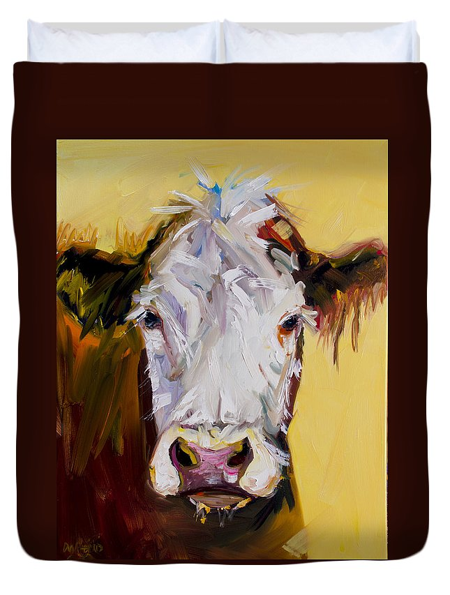 Cow Duvet Cover featuring the painting White One by Diane Whitehead