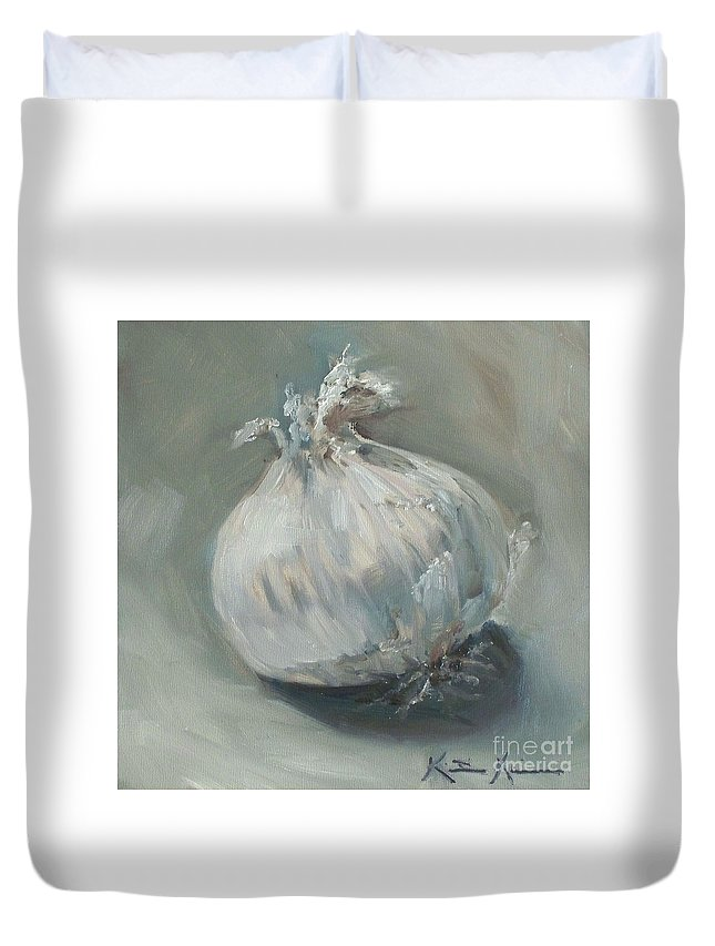 Onion Duvet Cover featuring the painting White Onion No. 1 by Kristine Kainer