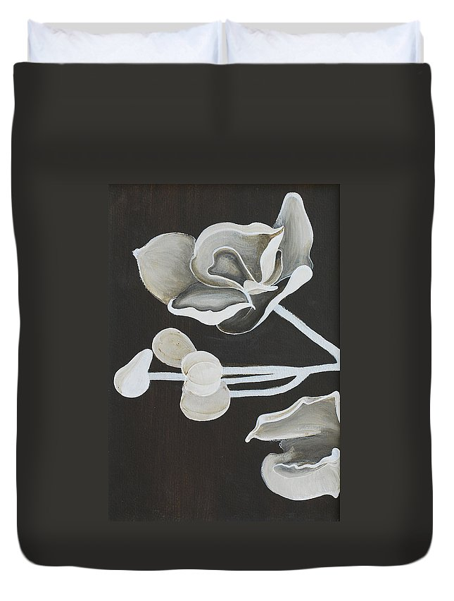 Orchid Duvet Cover featuring the painting White Orchid First Section by Catt Kyriacou