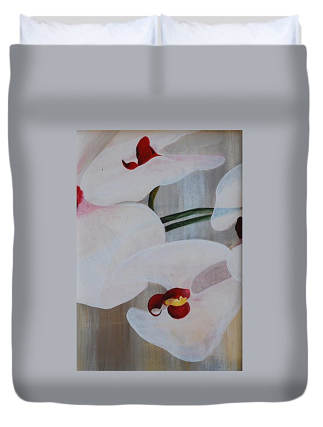 Orchid Duvet Cover featuring the painting White Orchid Light Background Middle Section by Catt Kyriacou