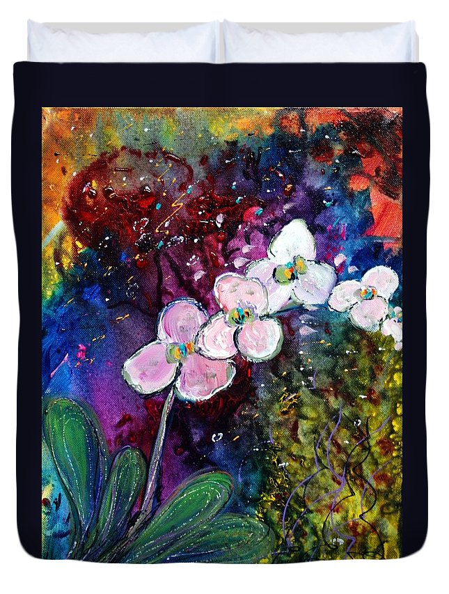 Flowers Duvet Cover featuring the painting White Orchid by Luiza Vizoli