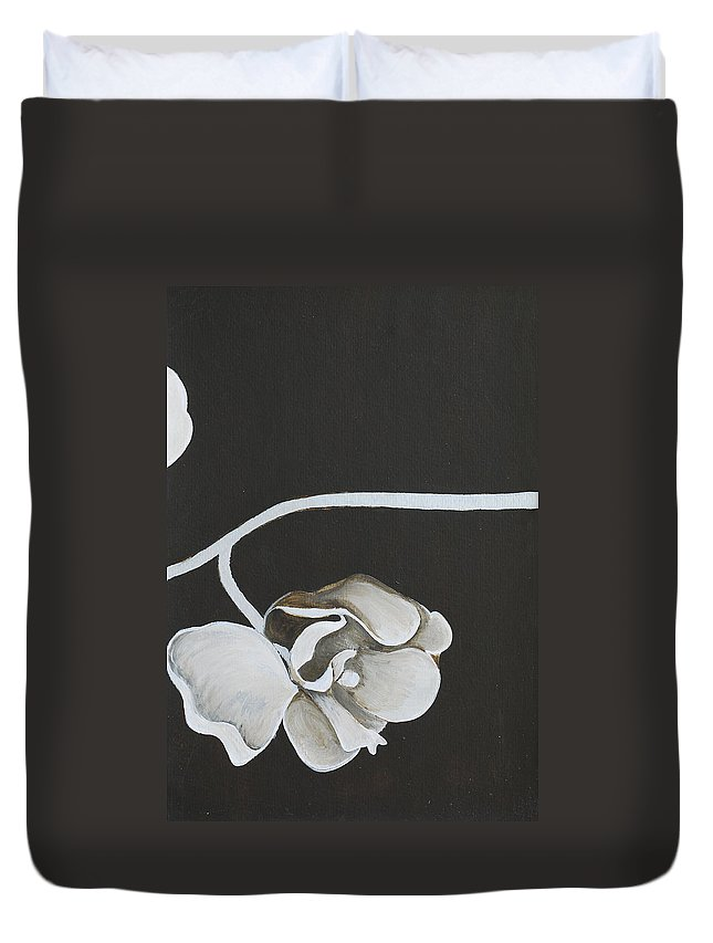 Orchid Duvet Cover featuring the painting White Orchid Third Section by Catt Kyriacou