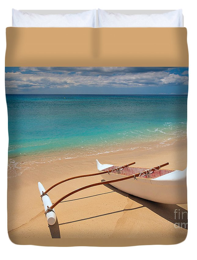 Afternoon Duvet Cover featuring the photograph White Outrigger Canoe by Dana Edmunds - Printscapes