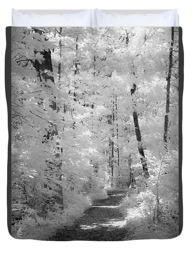 Infrared Duvet Cover featuring the photograph White Path by Dan Urban