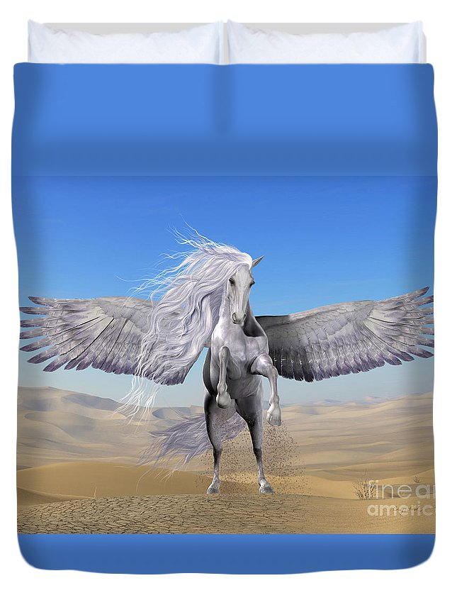 Pegasus Duvet Cover featuring the painting White Pegasus In Desert by Corey Ford