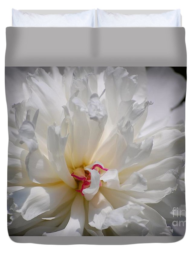 Digital Photography Duvet Cover featuring the photograph White Peony by David Lane