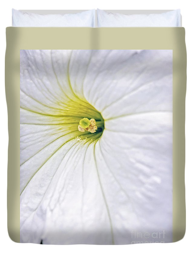 White Petunia Flower Picture Duvet Cover featuring the photograph White Petunia Wall Art by Gwen Gibson