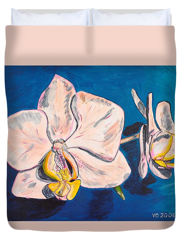 Flower Duvet Cover featuring the painting White Phalaenopsis Orchids by Valerie Ornstein