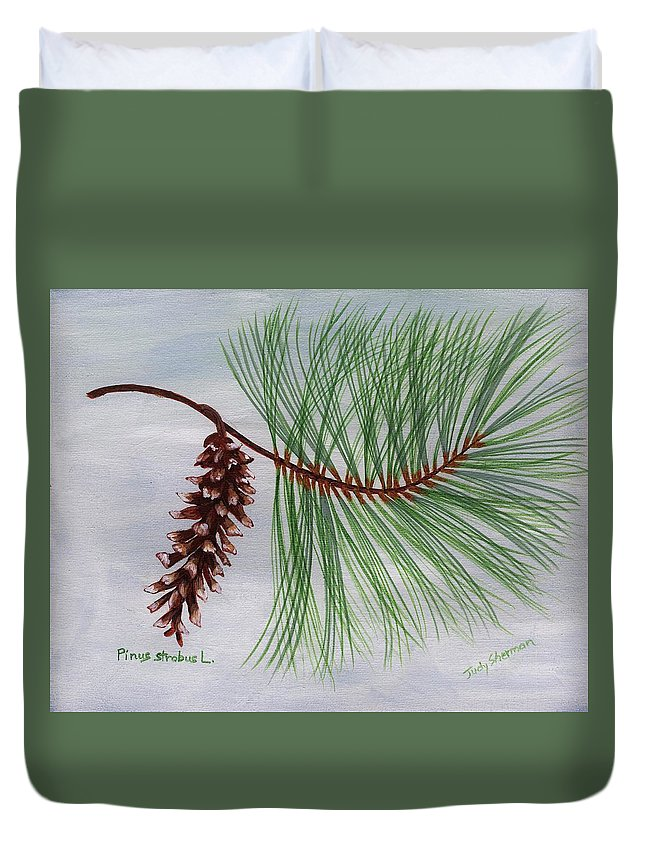 White Pine Cone and Tassel Duvet Cover for Sale by Judy Sherman