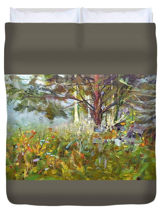 Landscape Duvet Cover featuring the painting White Pine by Elena Sokolova