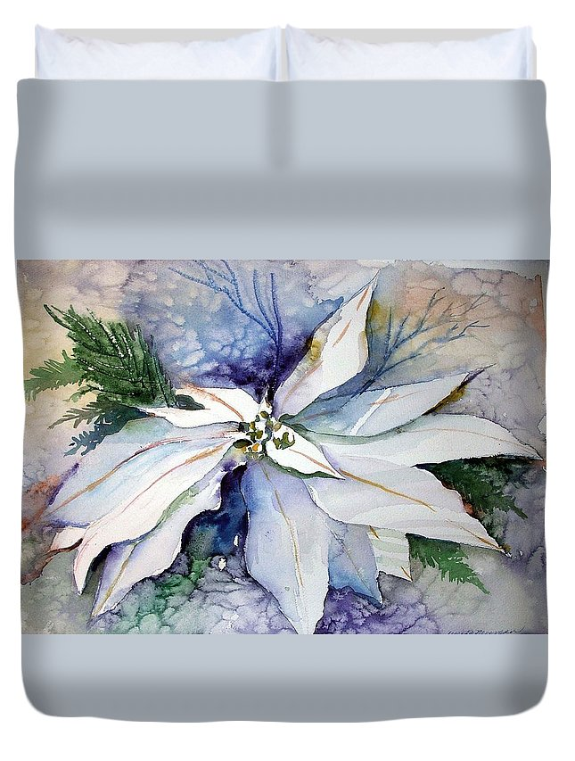 Floral Duvet Cover featuring the painting White Poinsettia by Mindy Newman