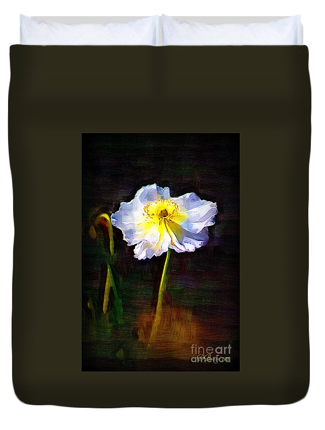 White Poppy Duvet Cover featuring the photograph White Poppy by Donna Bentley