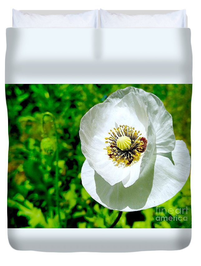 Poppies Duvet Cover featuring the photograph White Poppy by Mioara Andritoiu