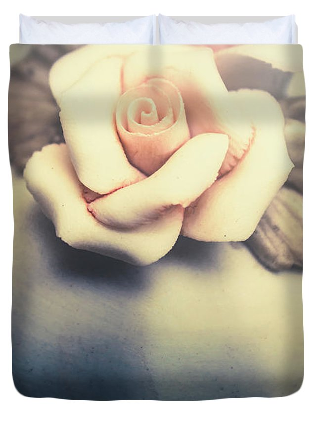 Rose Duvet Cover featuring the photograph White Porcelain Rose by Jorgo Photography - Wall Art Gallery