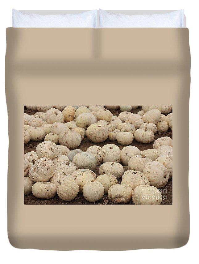 White Pumpkins Duvet Cover featuring the photograph White Pumpkins by Carol Groenen