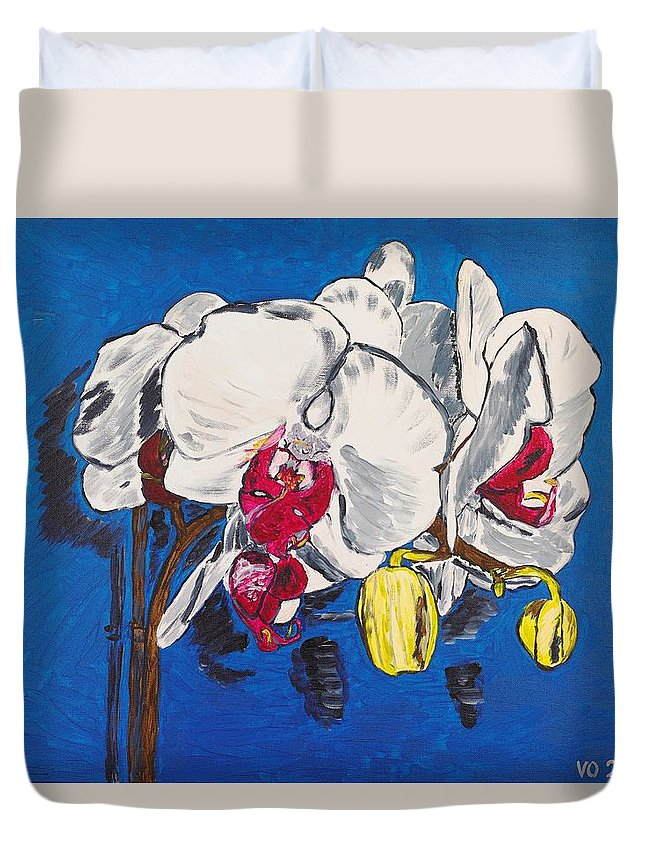 Flower Duvet Cover featuring the painting White Purple Phalaenopsis Orchids by Valerie Ornstein