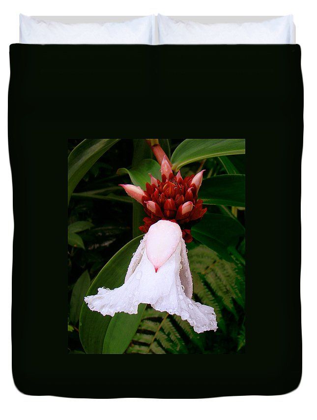 White Flower Duvet Cover featuring the photograph White Rainforest Flower by Merja Waters