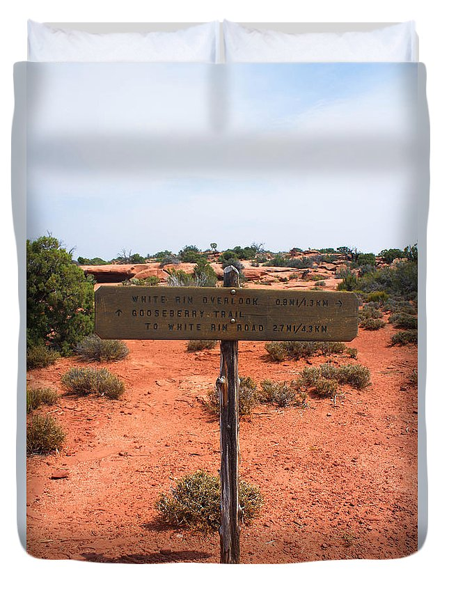 Canyonlands Duvet Cover featuring the photograph White Rim Overlook Trail Signpost by Kathleen Garman
