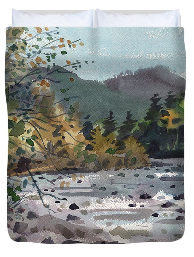 White River Duvet Cover featuring the painting White River In Autumn by Donald Maier