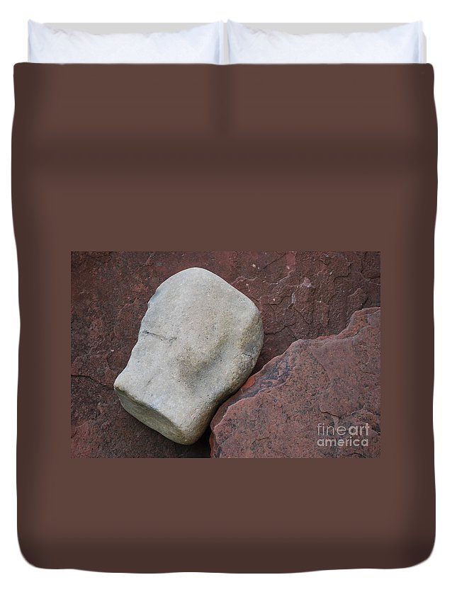 Color Duvet Cover featuring the photograph White Rock On Red Rock Number 1 by Heather Kirk