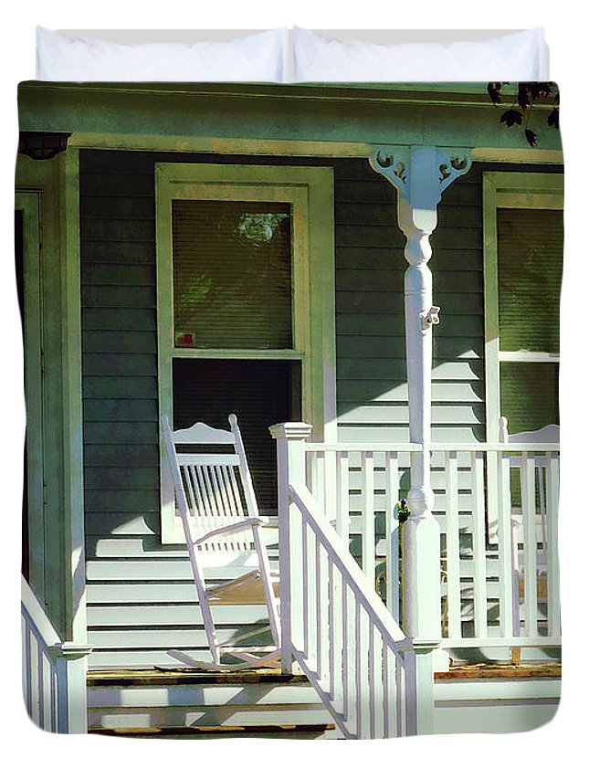 Porch Duvet Cover featuring the photograph White Rocking Chairs by Susan Savad