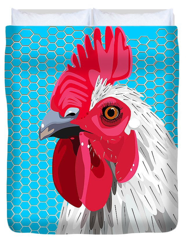 Agriculture Duvet Cover featuring the digital art White Rooster With Blue Background by Debra Baldwin