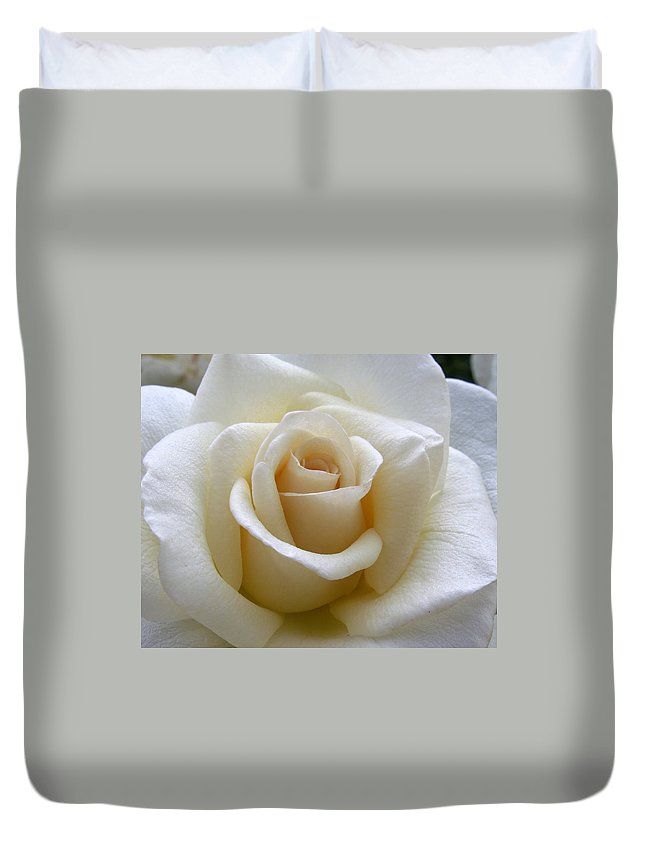 Roses Duvet Cover featuring the photograph White Rose by Amy Fose