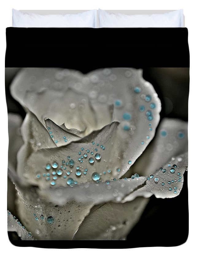 Rose Duvet Cover featuring the photograph White Rose Blue Water by Paul Gavin