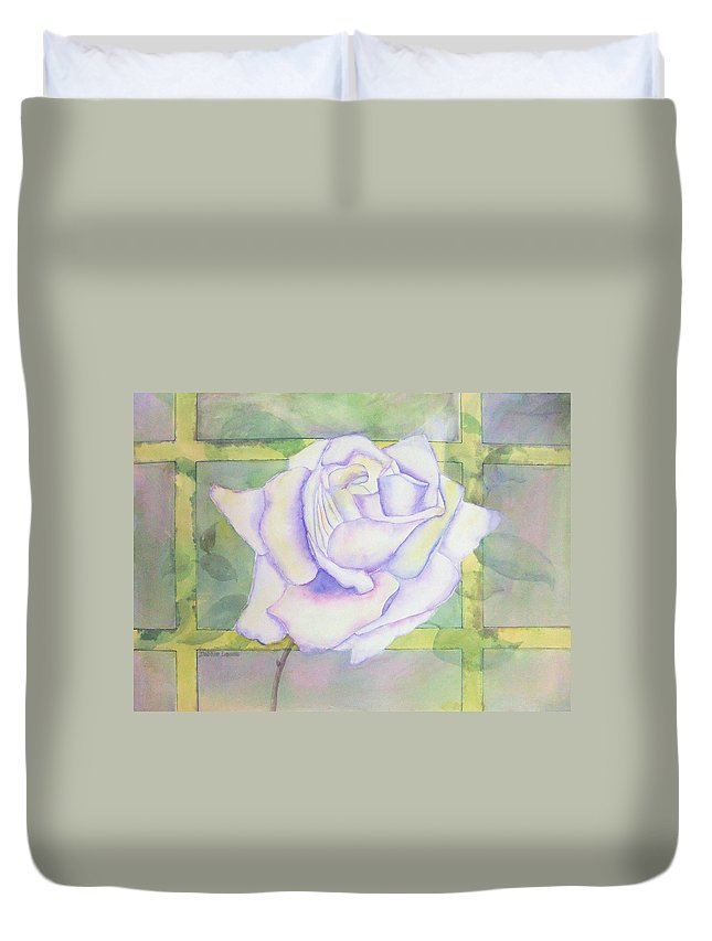 Watercolor Duvet Cover featuring the painting White Rose by Debbie Lewis