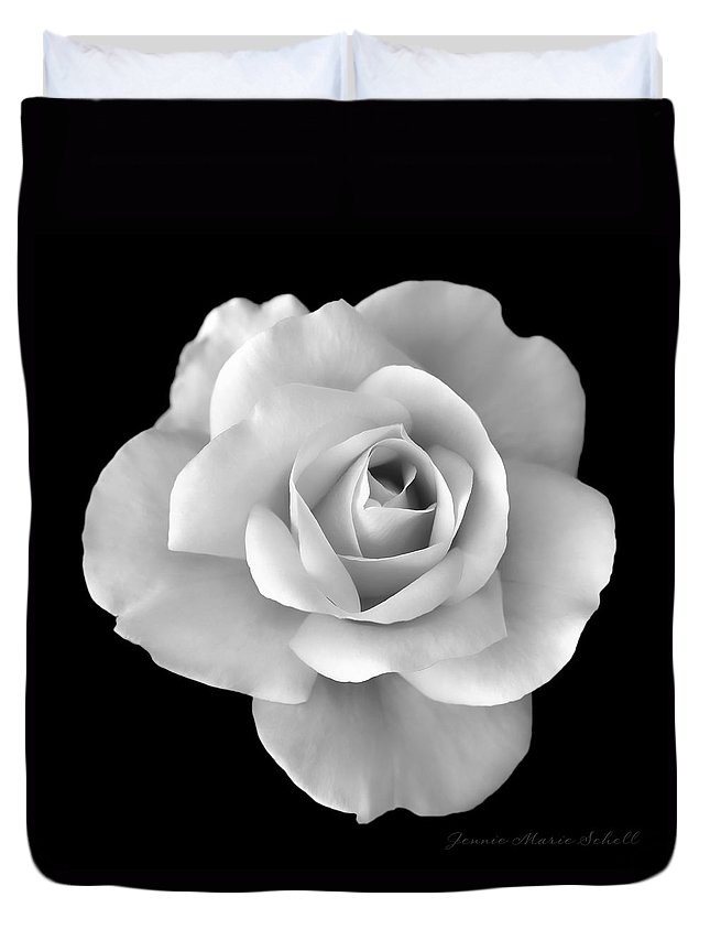 Rose Duvet Cover featuring the photograph White Rose Flower In Black And White by Jennie Marie Schell