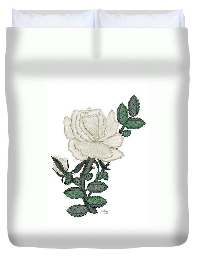 White Rose Duvet Cover featuring the painting White Rose On A Winter Day by Anne Norskog