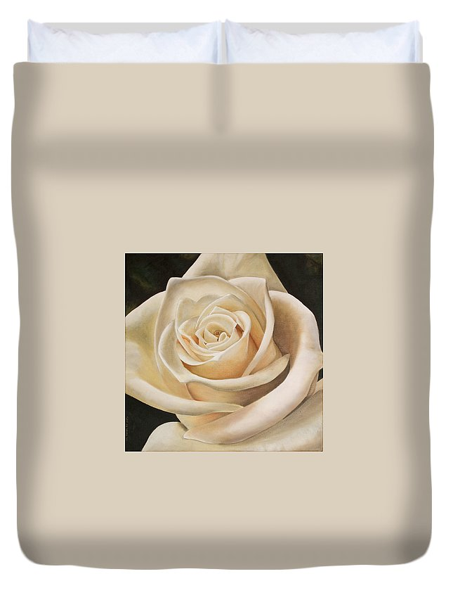 Flower Duvet Cover featuring the painting White Rose by Rob De Vries
