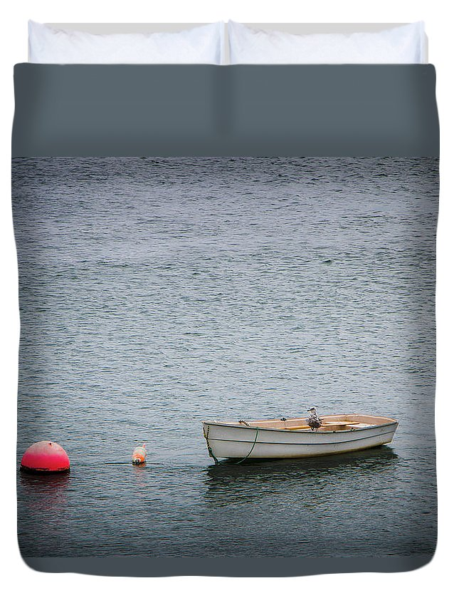 Boat Duvet Cover featuring the photograph White Rowboat And Seagull by Robert Anastasi