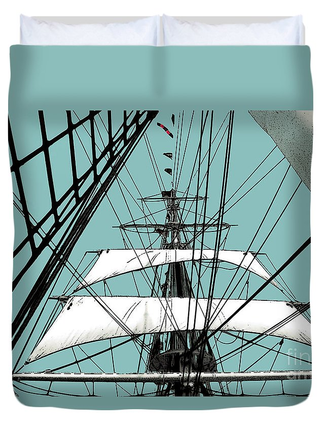 Boat Duvet Cover featuring the photograph White Sails At Dawn by Linda Parker