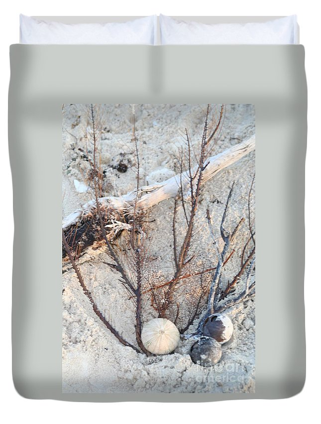 Sokolovich Duvet Cover featuring the photograph White Sand Beach Finds by Ann Sokolovich