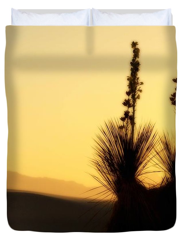 White Sands National Monument Duvet Cover featuring the photograph White Sands Sunset by Jill Smith