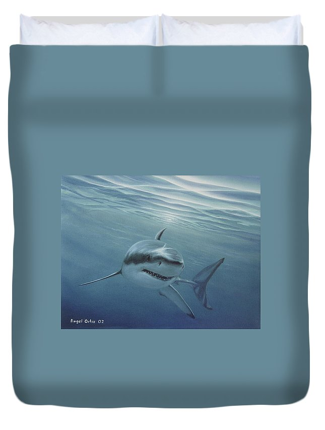 Shark Duvet Cover featuring the painting White Shark by Angel Ortiz