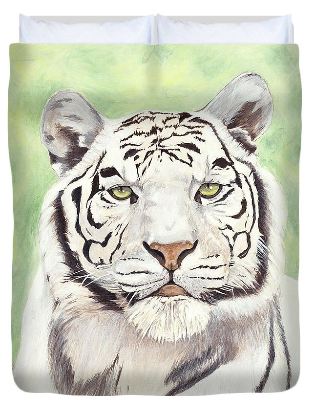Tiger Duvet Cover featuring the painting White Silence by Shawn Stallings