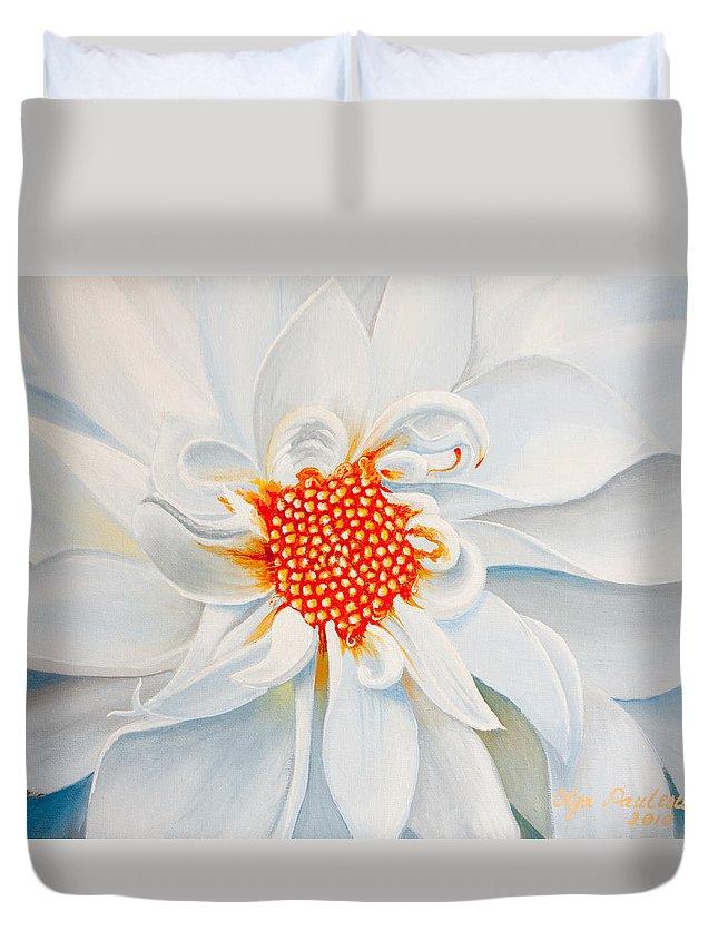 White Dahlia Duvet Cover featuring the painting White Smile by Olga Smith