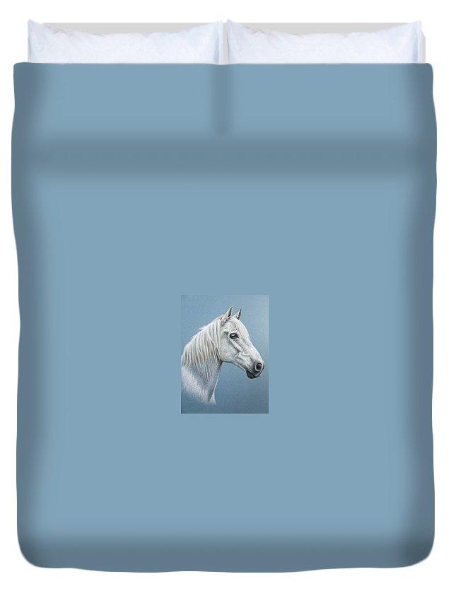 Horse Stallion White Pferd Portrait Animal Realism Pastel Duvet Cover featuring the pastel White Stallion by Nicole Zeug