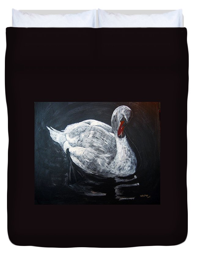 Swan Duvet Cover featuring the painting White Swan by Richard Le Page
