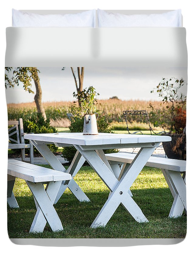 Long Island Duvet Cover featuring the photograph White Table by Alex Kotlik