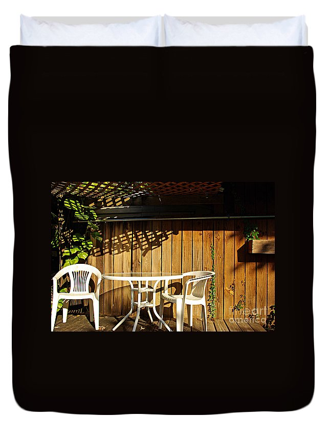 White Duvet Cover featuring the photograph White Table With Chairs by Zal Latzkovich