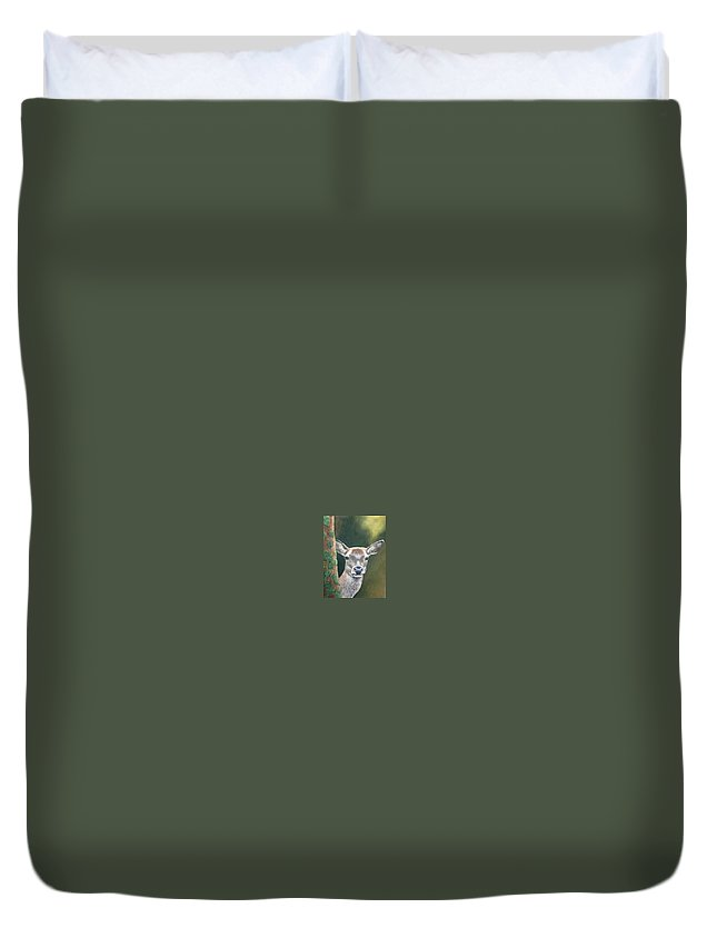 Rainforest Duvet Cover featuring the painting White Tail Doe At Ancon Hill by Ceci Watson